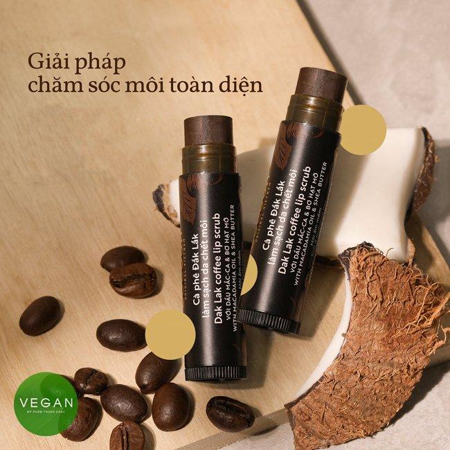 Cà phê đắk lắk làm sạch da chết môi cocoon