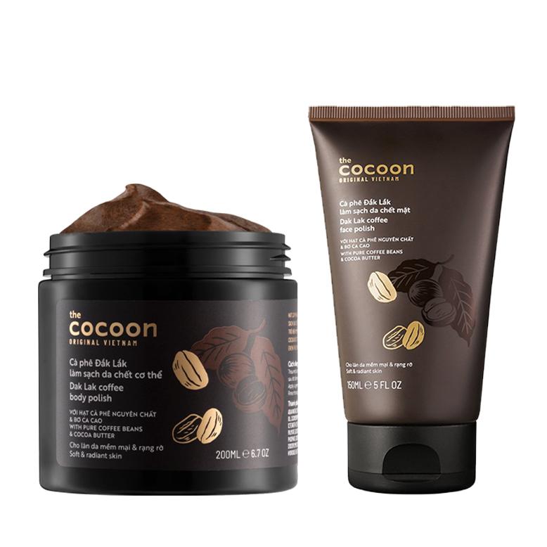 Bộ cà phê Đắk Lắk làm sạch da chết cocoon: da mặt 150ml + cơ thể 200ml